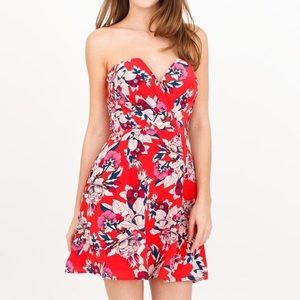 Yumi Kim Floral Gracie Strapless Silk Dress